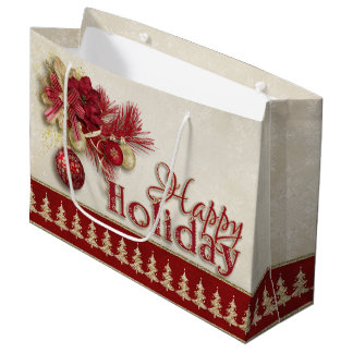 Christmas Holiday - Red/Gold Happy Holiday Large Gift Bag