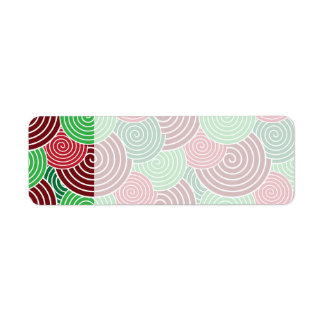 Christmas Holiday Red Green Spiral Pattern Return Address Label
