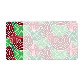 Christmas Holiday Red Green Spiral Pattern Shipping Label