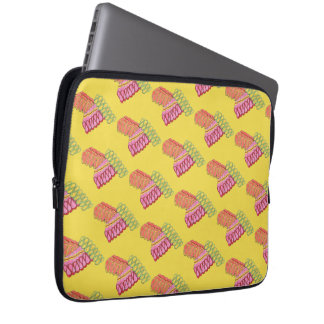 Christmas Holiday Ribbon Candy Xmas Foodie Yellow Laptop Sleeve