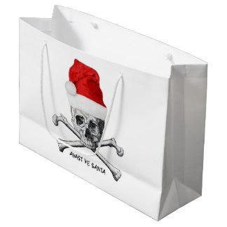 Christmas Holiday Santa Hat Skull Large Gift Bag