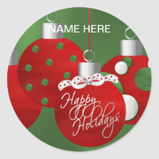 CHRISTMAS Holiday SEAL Personalize Round Sticker