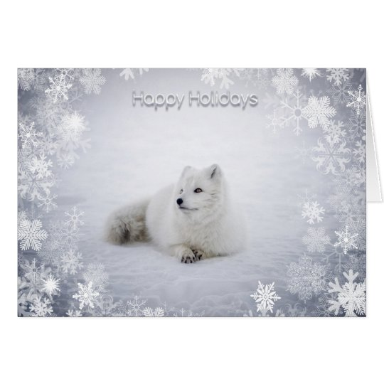 Christmas Holiday - Snow Fox with SnowFlakes Card