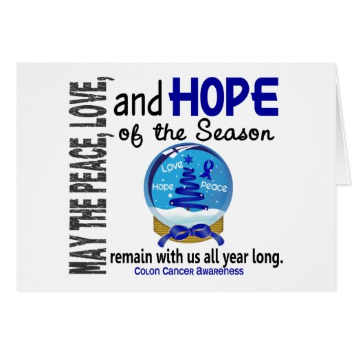Christmas Holiday Snow Globe 1 Colon Cancer Greeting Card