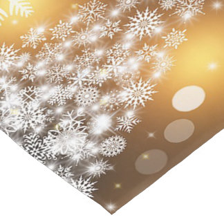 Christmas, Holiday, Snowflakes, Gold, Sparkle Medium Table Runner