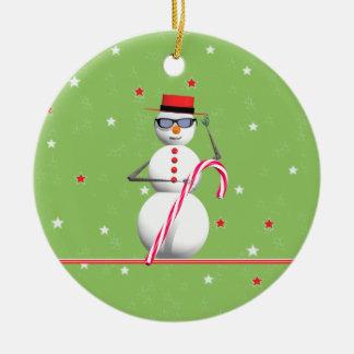 Christmas Holiday Snowman Ceramic Ornament