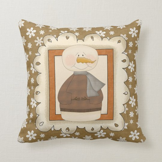 Christmas Holiday Snowman Pillow