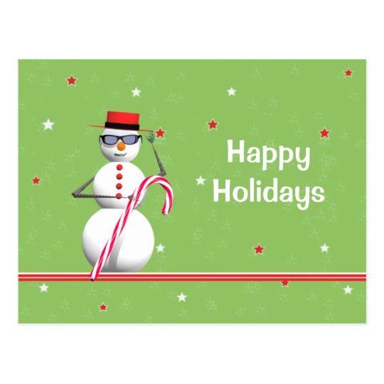 Christmas Holiday Snowman Postcard