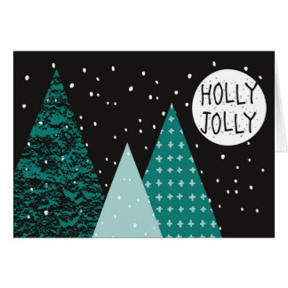 Christmas Holiday - Teal Holly Jolly - Trees Card