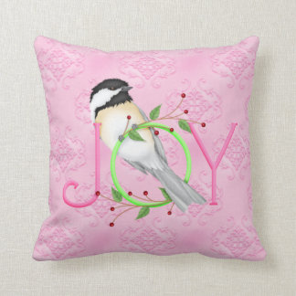 Christmas Holiday Throw Pillow Pink Chickadee