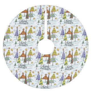 Christmas Holiday Tree Skirt With Christmas Trees Brushed Polyester Tree Skirt