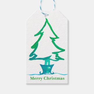 Christmas Holiday Tree Watercolor Gift Tags