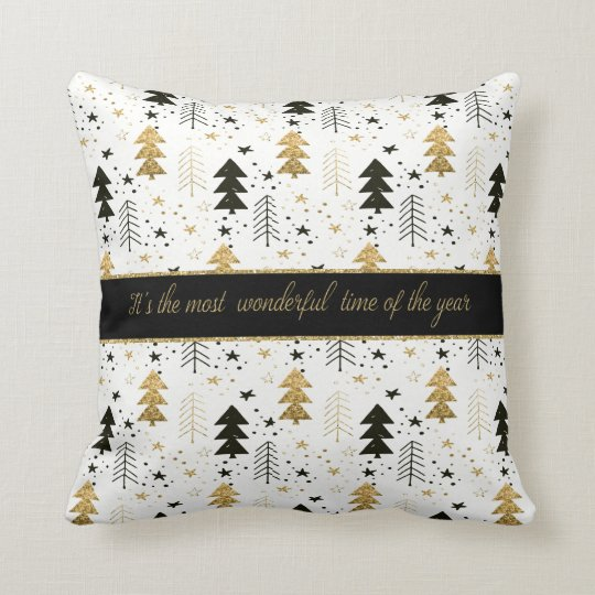 Christmas Holiday - Trees and Snowflakes Throw Pillow