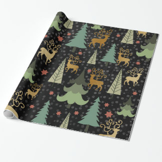 Christmas Holiday - Trees & Deer on Black Wrapping Paper