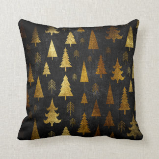 Christmas Holiday - Trees Gold on Black Throw Pillow