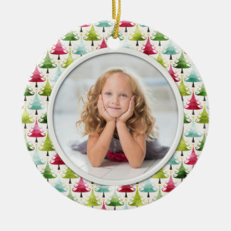 Christmas Holiday Trees Multicolor Photo Ceramic Ornament