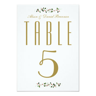 Christmas Holiday Wedding Reception Table Number Card