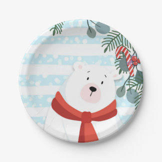 Christmas Holiday Winter Polar Bear Baby Shower Paper Plate