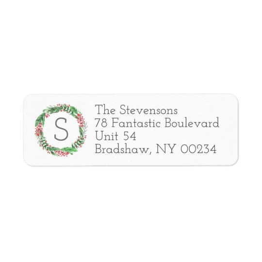 Christmas Holiday Wreath Monogram Family Cards Return Address Label