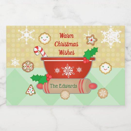 Christmas Holidays Baking Custom Food Label