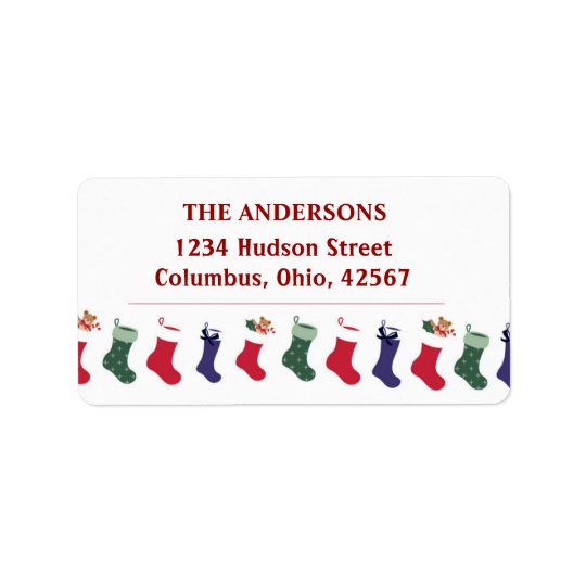 Christmas Holidays Stockings Address Label