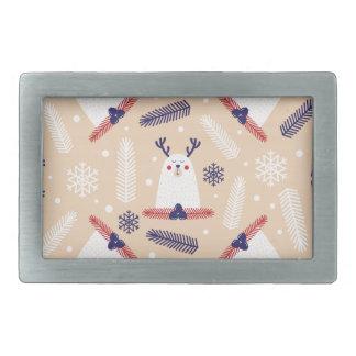 Christmas, holidays, tree decorations, pattern rectangular belt buckles