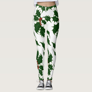 Christmas Holly and Berries Leggings