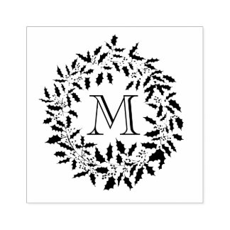 Christmas Holly and Berries Wreath Family Monogram Rubber Stamp