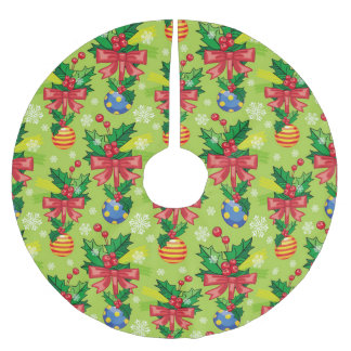 Christmas Holly And Bulbs And Bows Brushed Polyester Tree Skirt