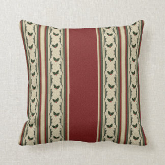 Christmas Holly and Cranberry Red Throw Pillow