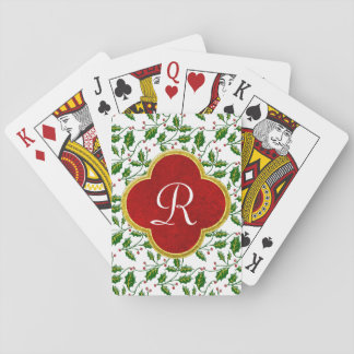 Christmas Holly and Monogram Personalize Playing Cards