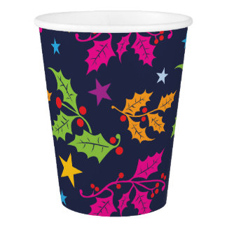 Christmas Holly and Stars Pattern Paper Cup