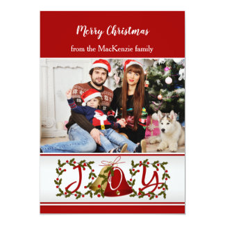 Christmas holly, bells Photocard Card