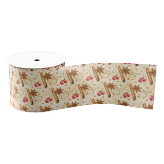 Christmas holly berries cinnamon grosgrain ribbon