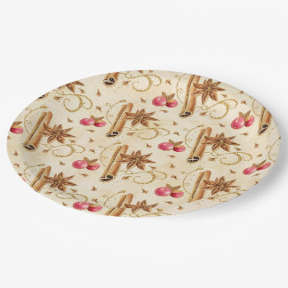 Christmas holly berries cinnamon paper plate