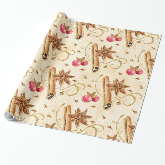 Christmas holly berries cinnamon wrapping paper
