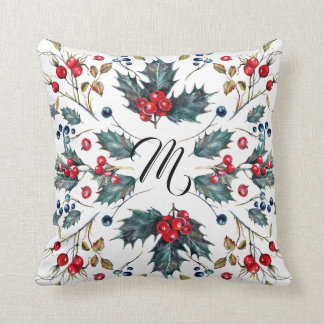 Christmas Holly & Berries Design Throw Pillow