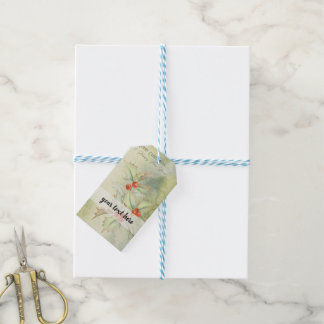 Christmas holly berries gift tags