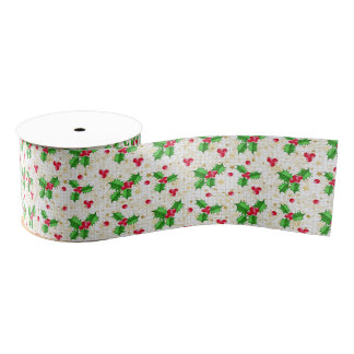 Christmas holly berries grosgrain ribbon