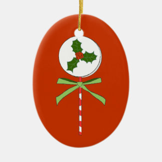 Christmas Holly Berries LolliPop Illustration Ceramic Oval Ornament