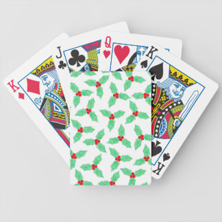 Christmas holly berries pattern bicycle playing cards