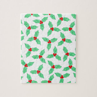 Christmas holly berries pattern jigsaw puzzle