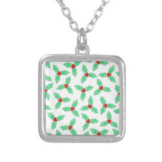 Christmas holly berries pattern silver plated necklace