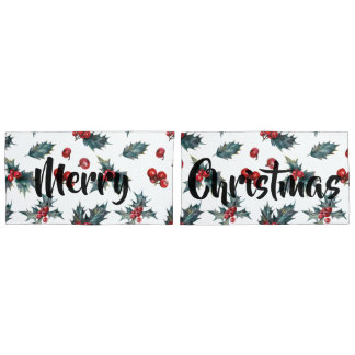 Christmas Holly & Berries with Merry Christmas Pillowcase