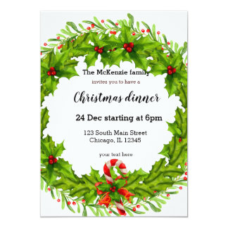 Christmas holly berries wreath card