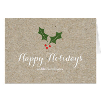 Christmas Holly Berry Holiday Fold Greeting Card