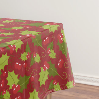 Christmas holly berry pattern tablecloth