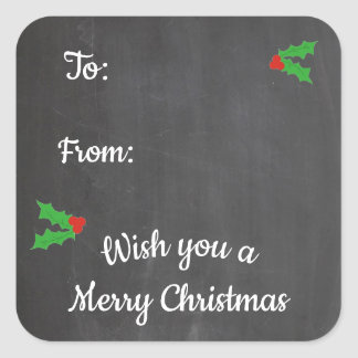 Christmas Holly Chalkboard Letters Square Sticker