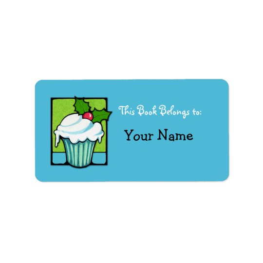 Christmas Holly Cupcake blue Bookplate Label