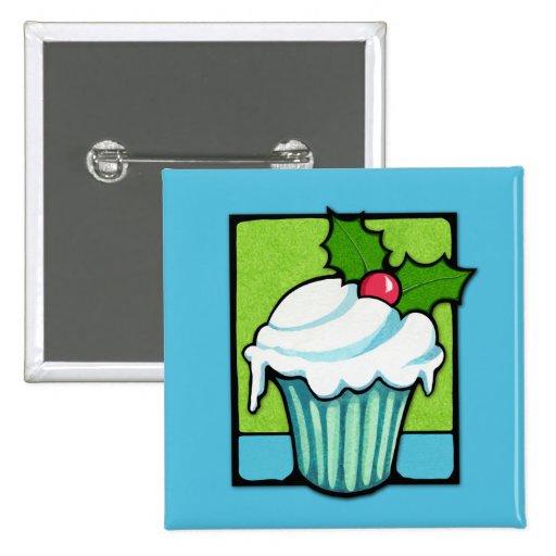 Christmas Holly Cupcake blue Button